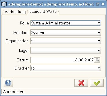 Anmeldung - System Administrator