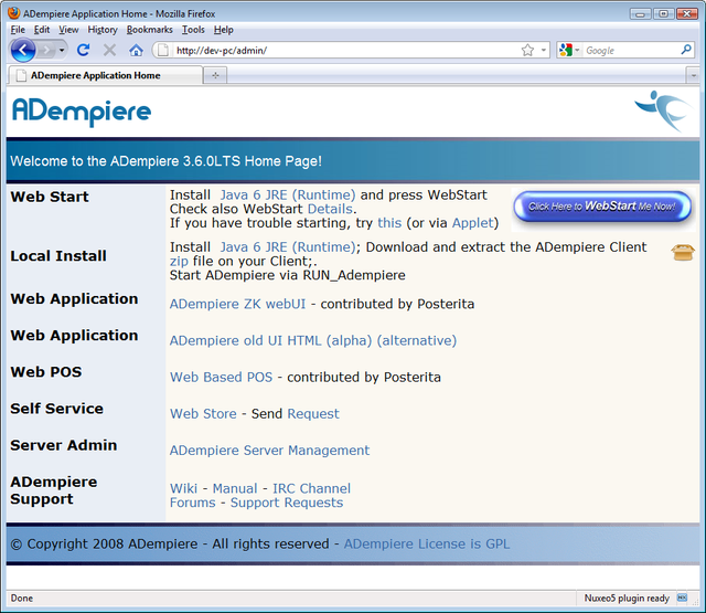 Launching the ADempiere Application - ADempiere