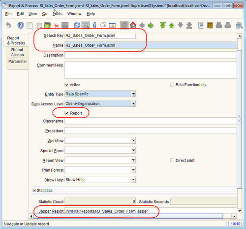 using jasper report form in place of standard forms adempiere